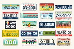 Automobile or car vehicle registration plates. Set of  vehicle registration plates. Auto or car, automobile numbers for usa and canada, russia and netherland Royalty Free Stock Photography