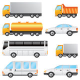 Set of vehicles. Set of various vehicles including bus, car, truck on the white background Royalty Free Stock Images
