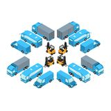 A set of vehicles in isometric style, passenger and freight transport for the transport of goods. And passengers Royalty Free Stock Images