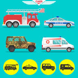 Set of vehicles. A set of vehicles with a shadow. Fire truck, ambulance, police car, military SUV. Icons of cars in flat style. Vector illustration.Design Royalty Free Stock Photos