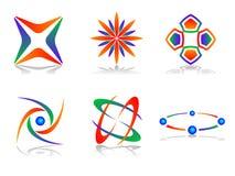 set vektor för abstrakt designsymbolslogo Arkivbild