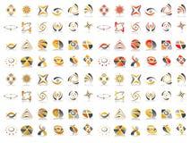 set vektor för abstrakt designsymbolslogo Arkivbilder