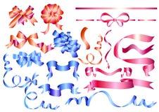 set vektor för blått rosa rött band Stock Illustrationer