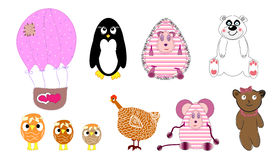set vektor för djur illustration Royaltyfri Fotografi