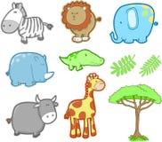 set vektor för djur safari Arkivbilder
