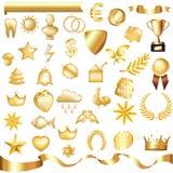 set vektor för guld Arkivbild