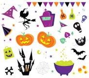 set vektor för halloween symboler iii stock illustrationer
