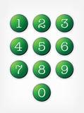 set vektor för knappnummer Arkivbilder