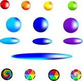 set vektor för knappregnbåge Arkivfoto