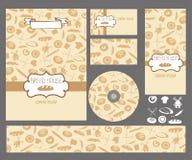 set vektor för konstnärlig affärsillustration Pasterie kontur Brännmärka mallen stock illustrationer