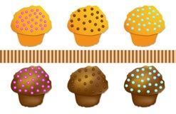 set vektor för kulör muffin Royaltyfri Fotografi