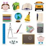set vektor för utbildningssymbolsskola Arkivfoton