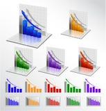 set vektor för affärsgraf Arkivbild