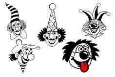 set vektor för clown Arkivbilder
