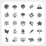 set vektor för symbolsillustrationnatur Royaltyfria Bilder