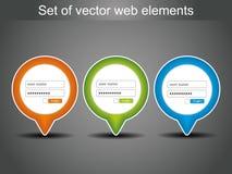 Set vektor-LOGON-Ikonen Stockfotos
