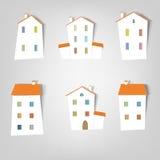 Set vektoraufkleber. Häuser Stockfotos