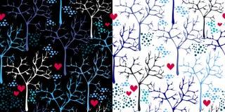 Set vektorbeschaffenheit mit Vögeln und Bäumen vektor abbildung