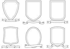 Set vektorembleme, -scheitel, -schilder und -rollen Stockfotografie