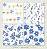 Set vektornahtlose Muster Aquarelliris, Blätter, Butter Stockbilder