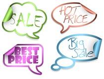 Set Verkaufs-komische Wolken Lizenzfreies Stockbild