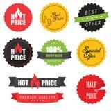 Set Verkaufsaufkleber, -elemente und -abzeichen Stockfotografie