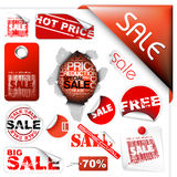 Set Verkaufskarten, Kennsätze, Stempel, Aufkleber Stockfoto