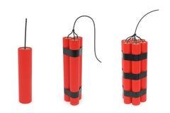Set verschiedene Dynamite mit Ölerfilz Stockbild