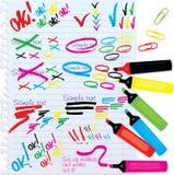 Set verschiedene Farbenmarkierungen und -markierungen Lizenzfreies Stockbild