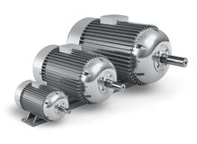 Set verschiedene industrielle Elektromotoren Stockfotos