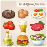 Set verschiedene Nahrungsmittelikonen Lizenzfreies Stockfoto