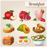 Set verschiedene Nahrungsmittelikonen Frühstück Lizenzfreie Stockfotos
