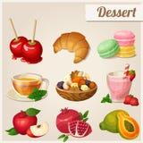 Set verschiedene Nahrungsmittelikonen Nachtisch Stockbilder