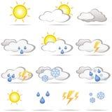 Set verschiedene Wetterikonen Stockfotos