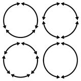 Set of 4 version circular arrow, circle arrow elements Royalty Free Stock Photos