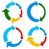 Set of 4 version circular arrow, circle arrow elements Stock Photo