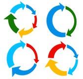 Set of 4 version circular arrow, circle arrow elements Stock Image