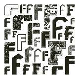 Set versions of letters F Stock Image