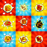 Set of versus letters fight backdrops in pop art style Stock Images