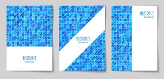 Set of vertical abstract backgrounds 15. Set of vertical mosaic background with blue triangle elements and white place for text. Vector illustration Vector Illustration