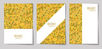Set of vertical abstract backgrounds 18. Set of vertical mosaic background with mustard color triangle elements and white place for text. Vector illustration vector illustration