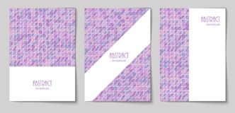 Set of vertical abstract backgrounds 19. Set of vertical mosaic background with pale purple triangle elements and white place for text. Vector illustration Stock Photography