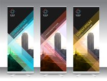 Set of vertical abstract display banner stand or roll up design Stock Image