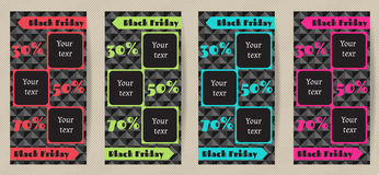 Set vertical advertising flyers for Black Friday sales. A set of vertical banners Black Friday sale. Stock Photo