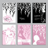 Set of vertical artistic universal cards, flowers and silhouette women, design for poster, card, invitation, placard, brochure, fl Royalty Free Stock Image