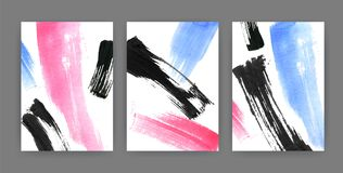 Set of vertical backgrounds or backdrops with abstract colored paint stains, blots, smudges. Bundle of card or poster. Templates decorated with rough brush Royalty Free Stock Photos