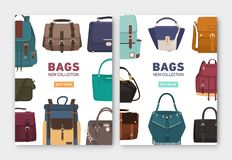 Set of vertical banner, flyer or poster templates with stylish bags, backpacks and handbags of different types and place. For text. Colorful vector illustration vector illustration
