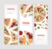 Set of vertical banner templates with appetizing classical pizza cut into slices and place for text. Vector illustration. For pizzeria or Italian restaurant royalty free illustration