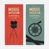 Set of vertical banner templates with old camera on tripod, film reel and place for text. Colorful flat vector. Illustration for cinema ticket, movie festival royalty free illustration
