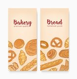 Set of vertical banner templates with tasty breads, sweet delicious pastry or homemade baked products. Hand drawn vector. Illustration in retro style for vector illustration